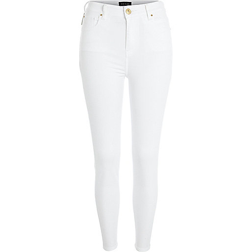 White Lana superskinny ankle grazer jeans