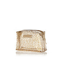 Gold animal print transparent make up bag