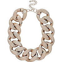 Gold tone oversized curb chain necklace
