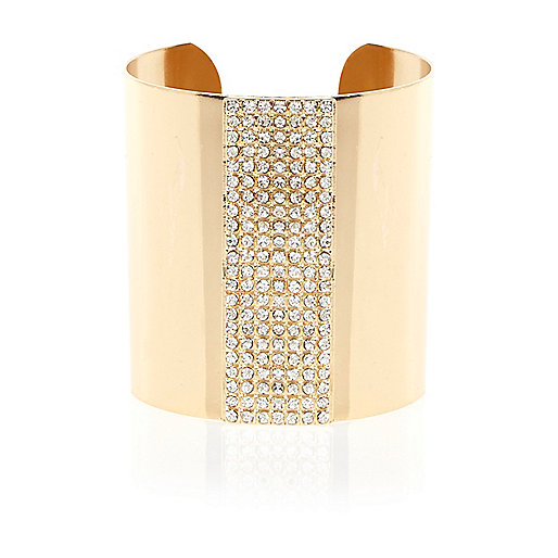 Gold tone diamante encrusted cuff bracelet