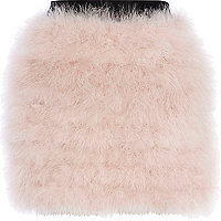 Light pink feather mini skirt
