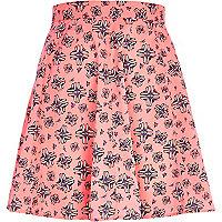 Bright pink graphic print skirt