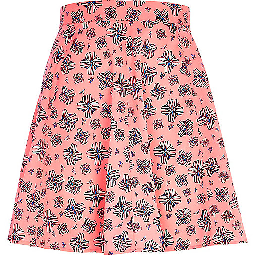 Bright pink graphic print skirt