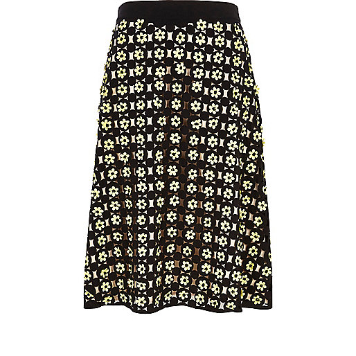 Black 3D flower midi skirt