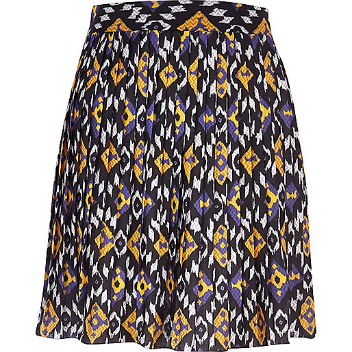 Purple print pleated skirt
