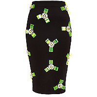 Black 3D plastic bow scuba pencil skirt