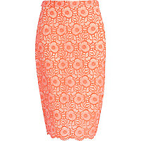 Pink floral embroidered pencil skirt