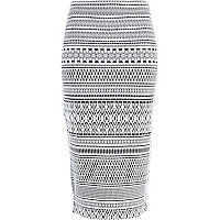 Black and white jacquard tube skirt
