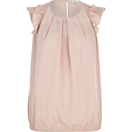 Light pink ruffle sleeve bubble hem top