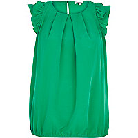 Green ruffle sleeve bubble hem top