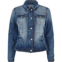 Mid wash distressed denim jacket