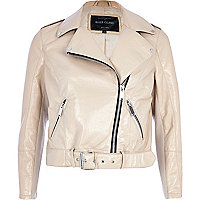 Cream patent cropped biker jacket