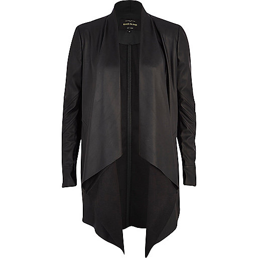 Black leather-look waterfall jacket