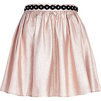 Pink metallic flower trim full skirt