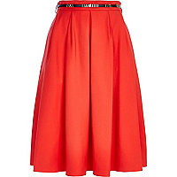 Red belted full midi skirt