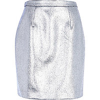 Silver cracked foil A line skirt