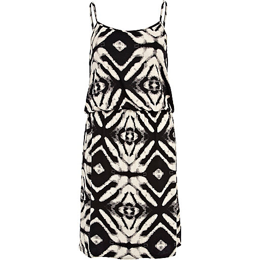 Black and white abstract print cami dress