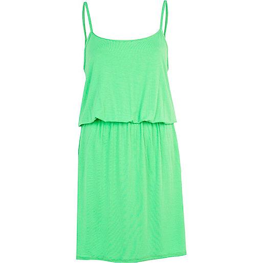 Light green waisted mini cami dress
