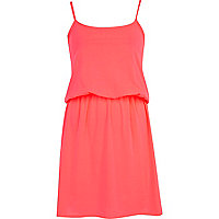Pink waisted mini cami dress