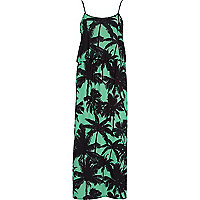 Green palm print cami maxi dress