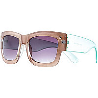 Beige oversized retro sunglasses