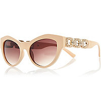 Beige cat eye diamante sunglasses