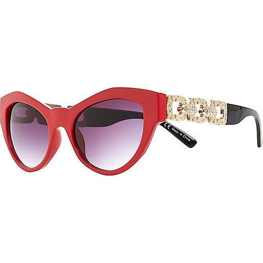 Bright red two-tone cat eye sunglasses