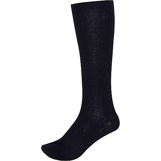 Navy cable knit knee high socks