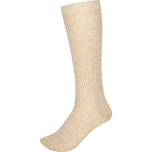 Beige cable knit knee high socks