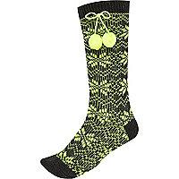 Dark grey fair isle pom pom socks