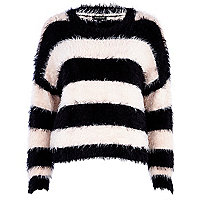 Black and pink fluffy stripe jumper