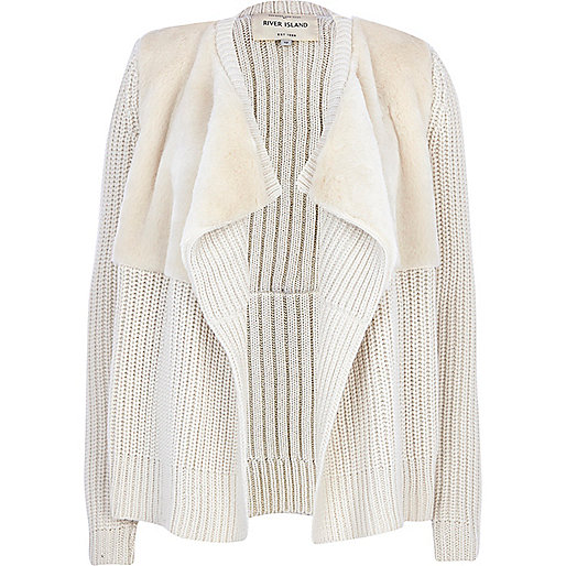 Cream faux fur panel waterfall cardigan