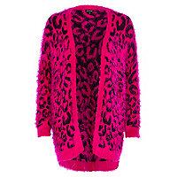 Bright pink leopard print fluffy cardigan