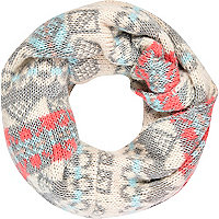 Grey fair isle knit snood