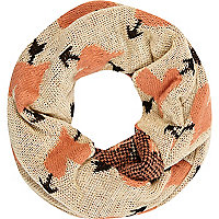 Beige arrow scarf snood