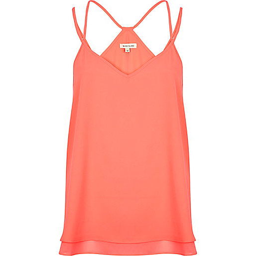 Bright pink double strap V neck cami top