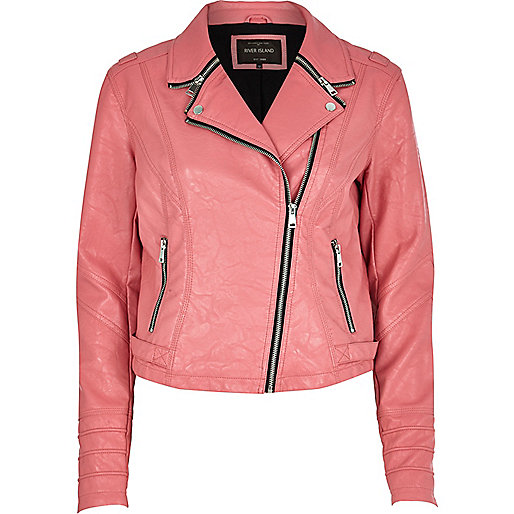 Pink zipped collar biker jacket