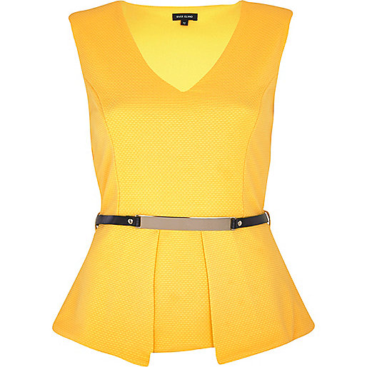 Yellow textured belted peplum top