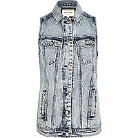 Light acid wash denim gilet