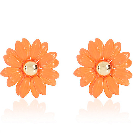 Orange daisy stud earrings