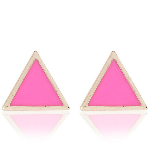 Pink triangle stud earrings