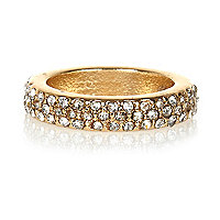 Gold tone encrusted midi ring