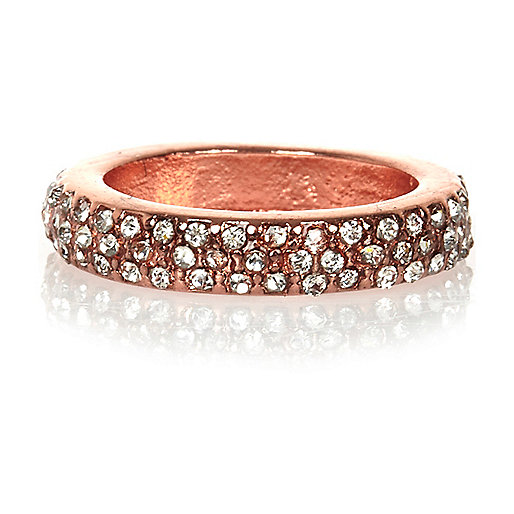 Rose gold tone encrusted midi ring
