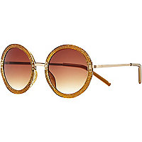 Gold glitter round sunglasses