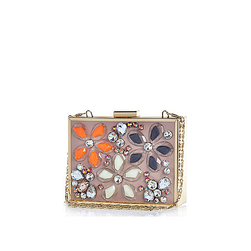 Pink floral gem stone box clutch bag