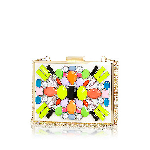 Cream neon embellished box clutch bag