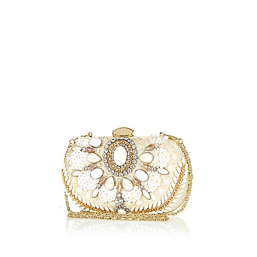 Cream faux pearl embellished box clutch bag