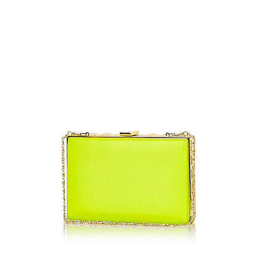Lime box clutch bag