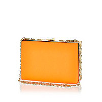 Orange box clutch bag