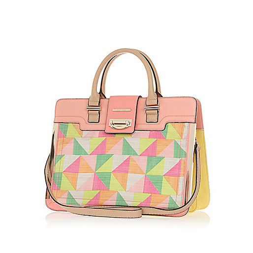 Pink geometric print metal trim tote bag
